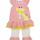 NWT Nannette Girls Giraffe Pink Seersucker Tunic Ruffle Leggings Outfit Set 5 6
