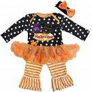 NEW Halloween Baby Girls Tutu Bodysuit Romper Pants Headband Outfit Set 18-24 M