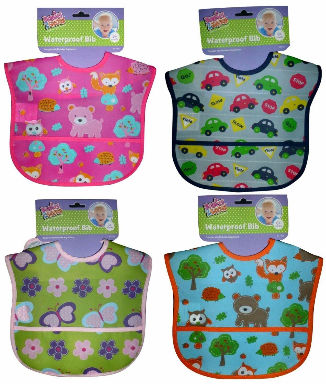 NWT Babies 2 Grow PEVA Plastic Waterproof Pocket Baby Boys Girls Feeding Bib