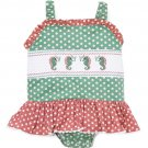 NEW Lil Cactus Baby Girls Seahorse Polka Dot Smocked Romper Sunsuit Jumpsuit