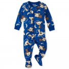 NWT The Childrens Place Boys Monkey Blue Footed Stretchie Pajamas Sleeper