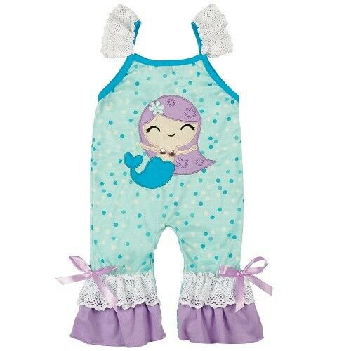 NEW Mermaid Boutique Baby Girls Ruffle Romper Jumpsuit