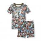 NWT The Childrens Place Dinosaur Print Boys Short Sleeve Pajamas Set