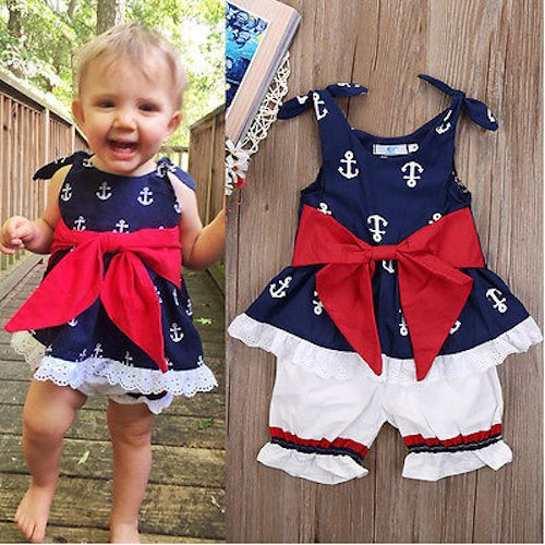NEW Baby Girls Nautical Anchor Tunic Dress White Bloomers Outfit 4th of July