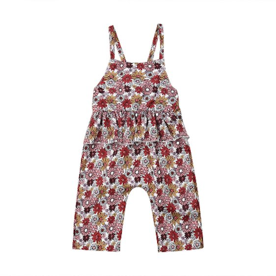 NWT Baby Girls Floral Ruffle Romper Overalls Jumpsuit Outfit 18 M 2T 3T