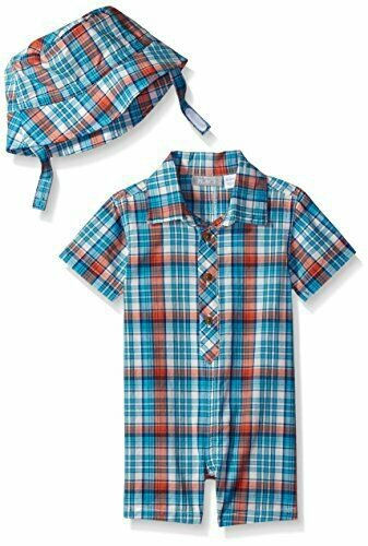 NWT The Childrens Place Boys Blue Plaid Romper & Hat Outfit Set 3-6 6-9 M