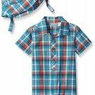 NWT The Childrens Place Boys Blue Plaid Romper & Hat Outfit Set 3-6 6-9 M