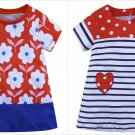 NWT Girls Red Floral Striped Hearts Short Sleeve Dress 2T 3T 4T 5T 6