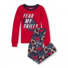 NWT The Childrens Place Football Boys Red Long Sleeve Pajamas Set