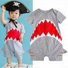 NEW Baby Boys Shark Gray Short Sleeve Romper Sunsuit Jumpsuit Outfit