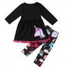 NWT Unicorn Girls Long Sleeve Black Tunic & Leggings Outfit Set 4 5 6