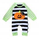 NEW Baby Boys Pumpkin Jack o Lantern Halloween Striped Romper Jumpsuit Outfit