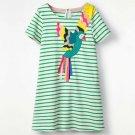 NEW Parrot Girls Green Striped Short Sleeve Shift Dress 2T 3T 4T 5T