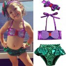 NWT Girls Mermaid Shimmer Bikini Swimsuit Bathing Suit & Headband Set