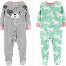 NWT Carters Unicorn Puppy Dog Toddler Girls Gray Footed Fleece Pajamas Sleeper