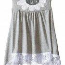 NWT Bonnie Jean Sequin Daisy Flower Girls Grey Sharkbite Lace Hem Dress 7 12 16