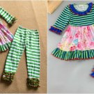 NEW Boutique Girls Green Stripe Floral Pink Ruffle Tunic Dress Leggings Outfit