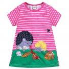 NWT Hedgehog Girls Pink Striped Short Sleeve Shift Dress 4 5 6