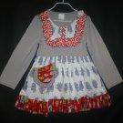 NEW Girls Boutique Ruffle Penguin Gray Long Sleeve Pink Dress 3-4 4-5 5-6