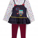 NWT Nannette Baby Girl ABC Owl Long Sleeve Tunic Leggings Outfit Set