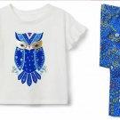 NWT Crazy 8 Owl Shirt Blue Floral Leggings Outfit Set 3T 4T 5T