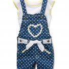 NWT Nannette Girls Heart Blue Shortalls Overalls Shirt Outfit Set 2T 3T 4T 5 6