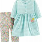 NWT Carters Baby Girls Striped Blue Dress Floral Leggings Outfit Set