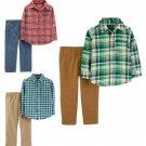 NWT Carters Toddler Boys Plaid Button Down Shirt & Pants Outit Set 2T 3T 4T 5T