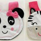 NEW Panda Zebra Baby Girl Terry Cloth Teething Drool Bib