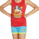 NWT Wonder Woman Girls Red Tank Top Blue Shorts Pajamas Set 6 7-8 10-12