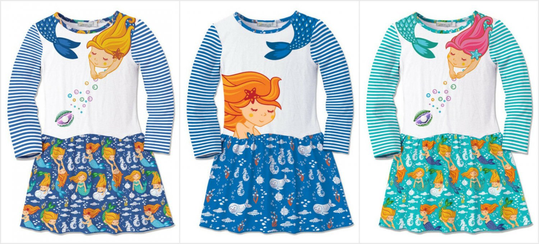 NWT Sunshine Swing Girls Long Sleeve Mermaid Shift Dress 10 12 14