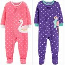 NWT Carters Swan Flamingo Toddler Girls Gray Footed Fleece Pajamas Sleeper