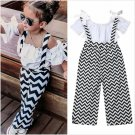 NEW Girls Short Sleeve Ruffle Shirt Chevron Black White Overalls Outfit Set