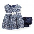 NWT Nannette Girls Blue Floral Metallic Short Sleeve A-Line Dress 3T 4T