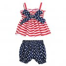 NWT Baby Girls 4th of July Patriotic Smocked Bow Ruffle Tunic Bloomers Outfit