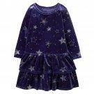 NWT Gymboree Winter Star Girls Blue Silver Long Sleeve Velour Ruffle Dress