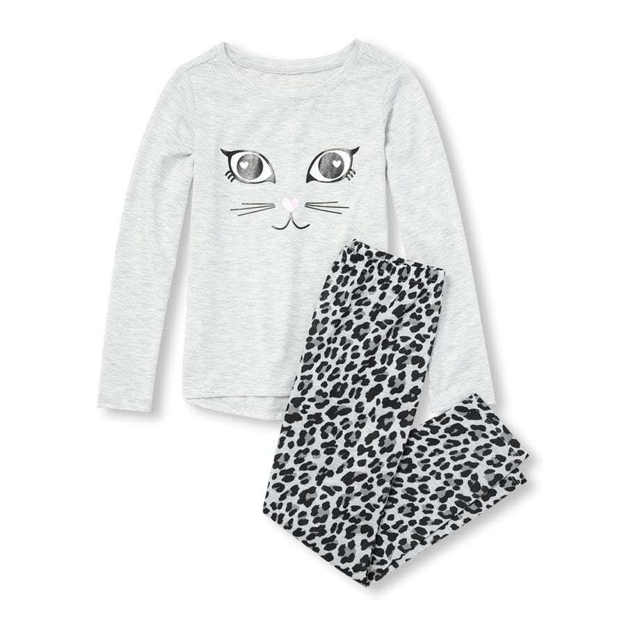 NWT The Childrens Place Girls Cat Leopard Print Long Sleeve Pajamas Set