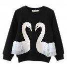 NEW Swan Long Sleeve Girls Black Ruffle Shirt 2T 3T 4T 5T