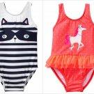 NWT Gymboree Fairytale Forest Racoon Striped Horse Ruffle Tutu Girls Swimsuit