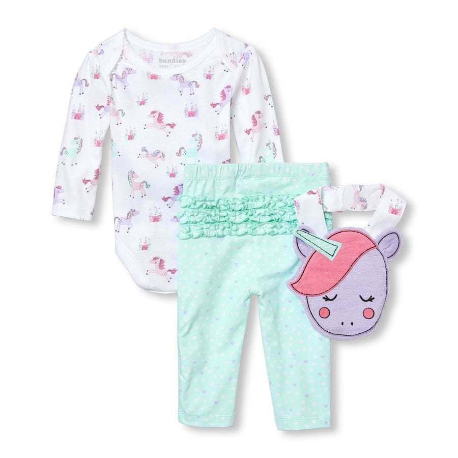 NWT The Childrens Place Unicorn Baby Girls Bodysuit Leggings Bib Outfit Set