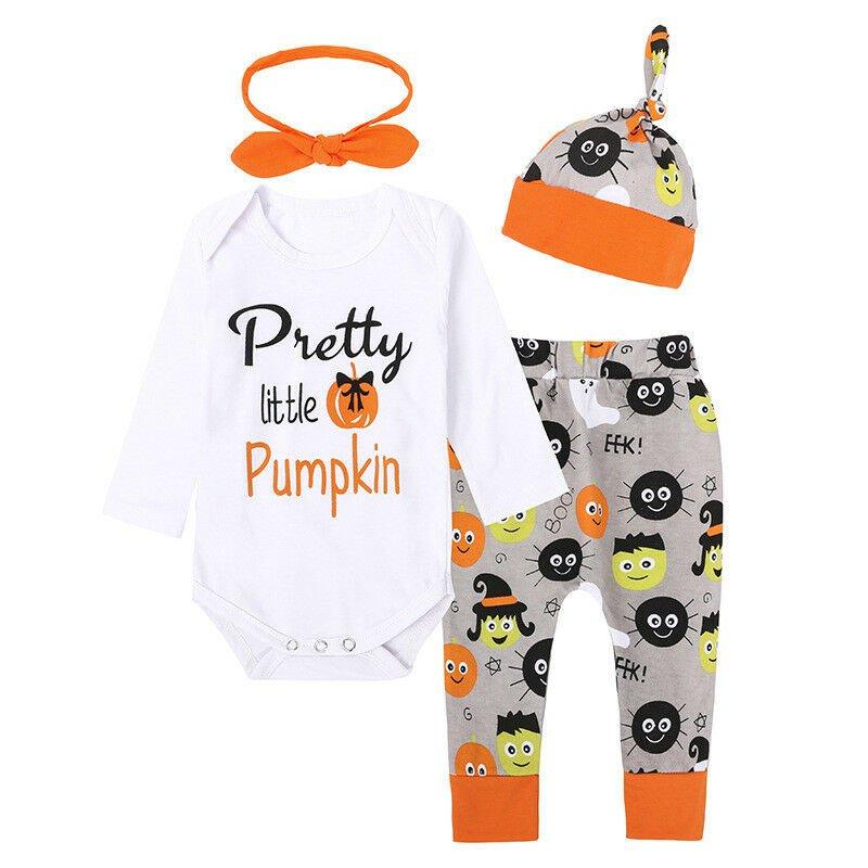 NWT Pretty Little Pumpkin Baby Girls Bodysuit Pants Headband Halloween Outfit