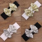 NEW Girls Gold Silver Sequin Bow Headband Hairband Christmas Holiday