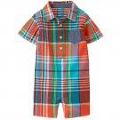 NWT Gymboree Little Weekender Baby Boys Plaid Button Down Romper Sunsuit
