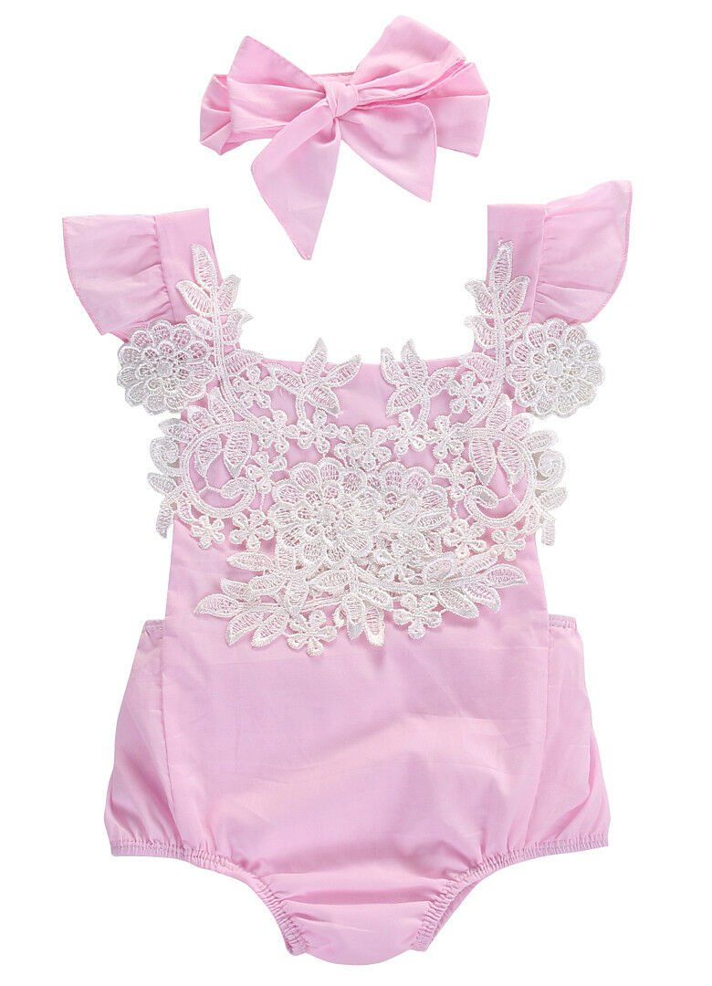 NEW Baby Girls Pink Floral Lace Romper Sunsuit Jumpsuit Headband Outfit Set