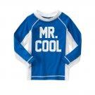 NWT Gymboree Mr. Cool Boys Long Sleeve Rashguard Swim Shirt 6-12 12-18 18-24 2T