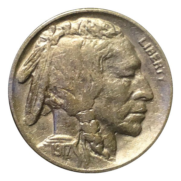 1917 Buffalo Nickel / 5C Five Cents - AU / Almost Uncirculated - Full Horn