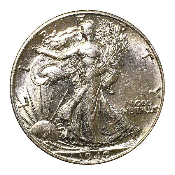 1940 S Walking Liberty Half Dollar / 50C - BU / MS RD / Unc - Luster