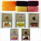 A Set of 5 Natural Herbal Handmade Soaps (Coffee, Silk Protein, Red Wine, Lotus, and Lemongrass)