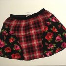 The Children's Place L 10/12 Rose Flower Black Red Plaid Skirt
