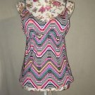 Amica Multi Color Geometric Tribal Tankini Swim Suit Top Women Size XL